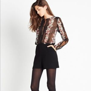 Lace Panel Floral Print Romper from BcbGeneration